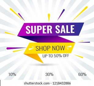 Super Sale, Mega. this weekend special offer banner, up to 10% 30% 50% 60% off. Vector illustration.