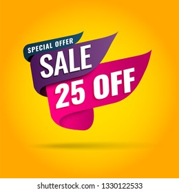 Super Sale, Mega. this weekend special offer banner, up to 25% off. Vector illustration.