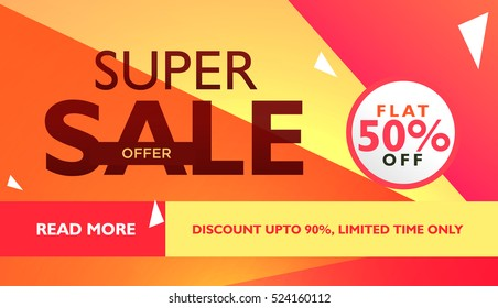super sale offer template for advertising with geometric colorful shapes