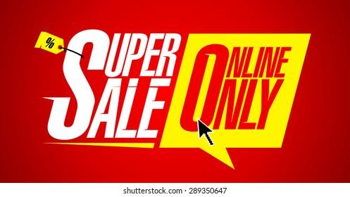 Super sale online only, bright fashion banner.