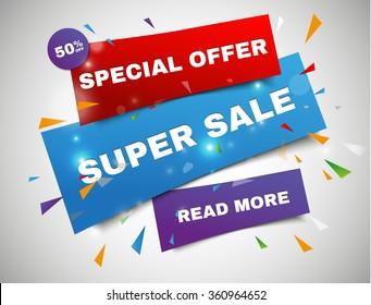 Super Sale paper banner. Sale background. Super Sale and special offer. 50% off. Vector illustration