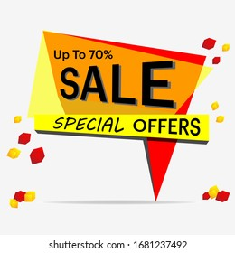Super Sale paper banner, special seasonal offers up to 70% off. Vector illustration