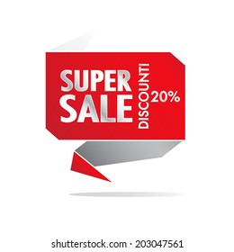 Super Sale and percentage discount wording on red roll paper, discount promotion, in pop art style