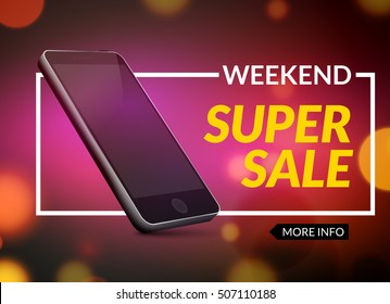 Mobile Clearance Sale Discount Poster. Smartphone Sale. Marketing Special