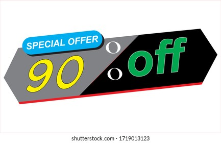Super Sale poster, banner. Big sale, clearance. 90% off. Vector