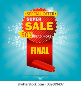 Super Sale poster, banner. Big sale, clearance. 50% off. Vector illustration.
