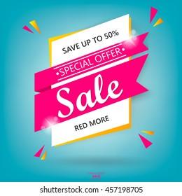 Super Sale poster, banner. Big sale, clearance. 50% off. Vector illustration.