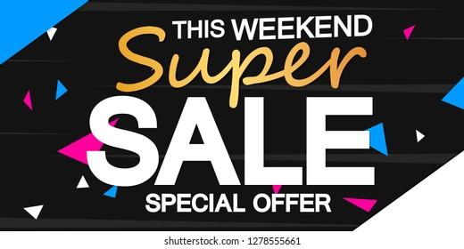 Super Sale, poster design template, horizontal banner, special offer, vector illustration