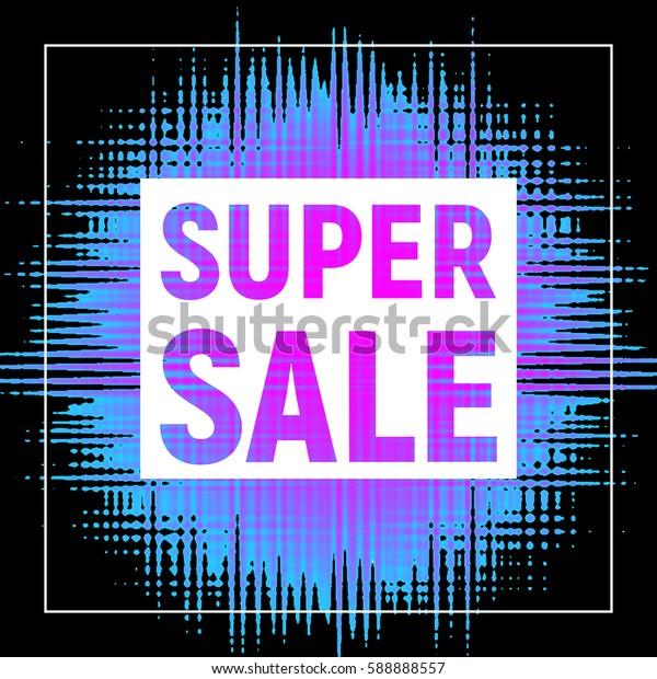 Super sale poster with frame black background