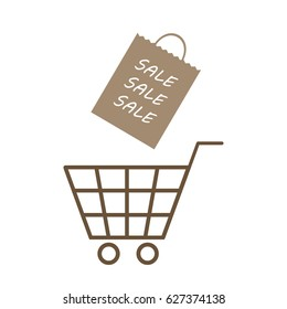 Super sale poster. Shopping cart