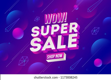 Super sale promotion design. Vector illustration. Three-dimensional letters against a futurictic abstract background.