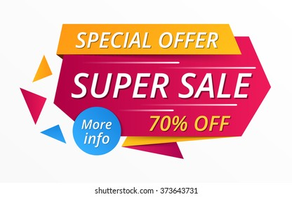 Super sale red banner, special offer, 70% off, vector eps10 illustration