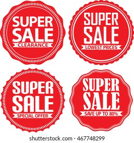 Super sale red label set, vector illustration
