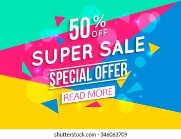 Super Sale shining banner on colorful background. Vector illustration.