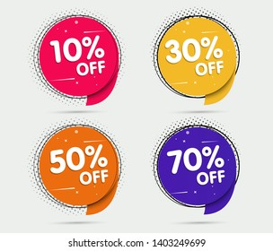Super Sale and special offer. 10, 30, 50, 70 off. Vector illustration. Trendy neon geometric figures wallpaper in a modern material design style. Set Coloured banner
