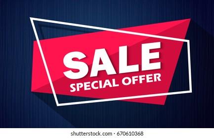 Super Sale and special offer. 50% off. Vector illustration. Coloured banner