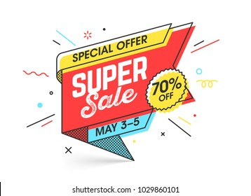 Super sale, special offer banner template in flat trendy memphis geometric style, retro 80s - 90s paper style poster, placard, web banner designs, vector illustration