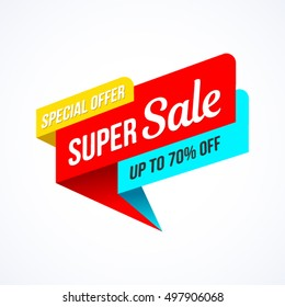Super Sale, special offer banner. Vector illustration.