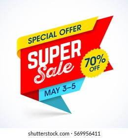 Super sale special offer banner vector illustration