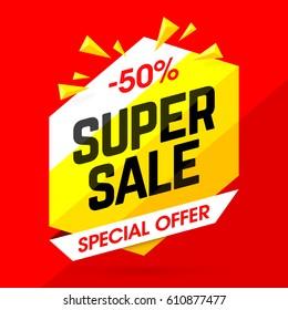 Super Sale special offer banner, vector illustration