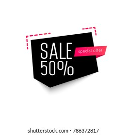 Super Sale special offer banner, up to 50 off. Origami paper pieces. Vector illustration.