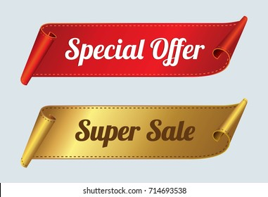 Super Sale and Special offer Banners. Red and gold curved ribbon Vector illustration