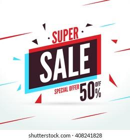 Super Sale special offer. Discount baner decoration. Vector promotion business market banner flyer for Sale.
