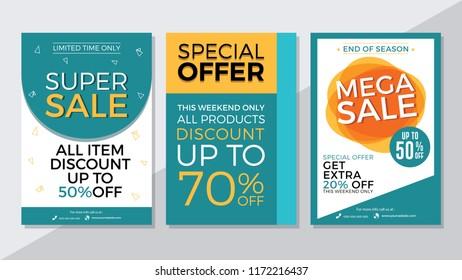 Super Sale, Special Offer and Mega Sale Flyer Template