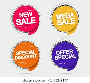 Super Sale and special offer. Vector illustration. Trendy neon geometric figures wallpaper in a modern material design style. Set Coloured banner