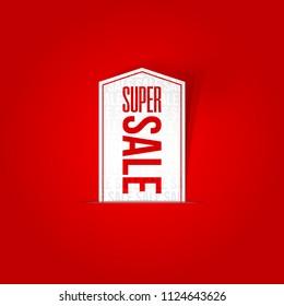 Super Sale sticker, special offer banner. Vector illustration.