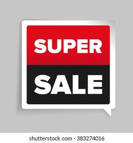 Super sale sticker vector red