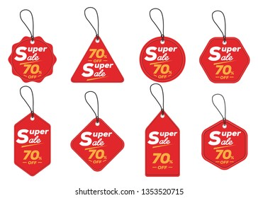 super sale tag collection, set of banner elements for website and advertising. Discount label design, sale web coupons. Vector promotion badge icons. 3D Price sticker. - Vector EPS10