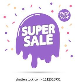 Super Sale, tag design template, discount banner, Summer offer, app icon, vector illustration