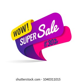 Super Sale, this weekend special offer banner, up to 30% off. Vector illustration.