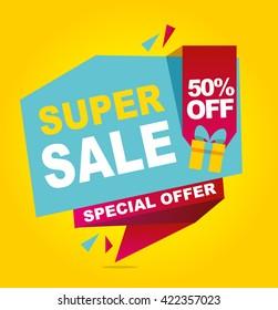 Super sale vector banner. 50% off .  Vector illustration.