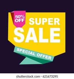 Super Sale vector banner.  50%off . Vector illustration.