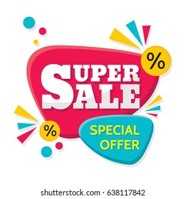 Super Sale - vector creative banner illustration. Abstract concept discount promotion layout on white background. Design elements.