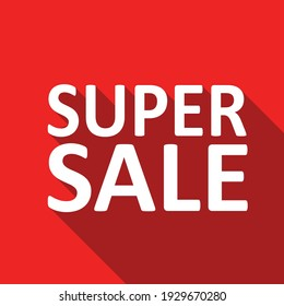 super sale white text on a red background