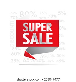 Super Sale wording on red roll paper, discount promotion, in pop art style