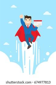 super send man. Business vector cartoon.