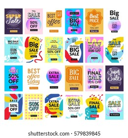 Super Set. 24 Flat design sale website banners for mobile phone. Vector illustrations for social media banners, posters, email and newsletter designs, ads, promotional material.