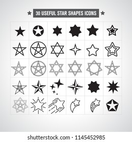 Super Set of 30 star shaped icons for any ocassion