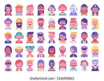 Super set of 45 cool flat avatars icons. Positive male and female characters different ages, professions and nationalities. Funny bright vector illustrations.