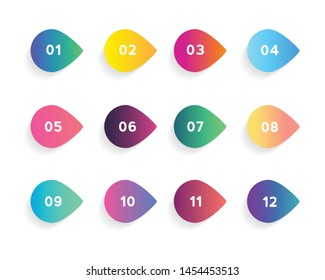 Super set arrow bullet point triangle flags on white background. Colorful gradient markers with number from 1 to 12. Modern vector illustration.