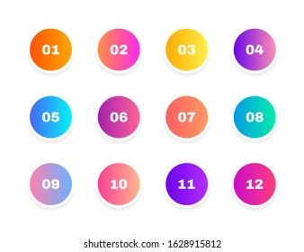 Super set bullet point on white background. Colorful gradient markers with number from 1 to 12. Modern vector illustration.