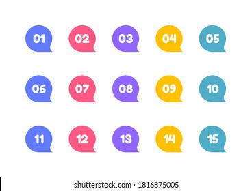 Super set bullet point on white background. Colorful markers with number from 1 to 15. Modern vector illustration.