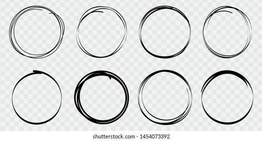 Super set of circles lines sketch hand drawn. Doodle circles for design elements, messages, notes labels. Bubble proet vector illustration.