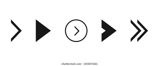 Super set different arrows mark. Flat style vector illustration.