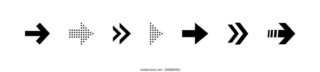 Super set different arrows mark. Collections arrows pointers. Flat style vector illustration.