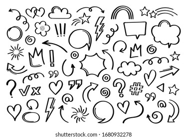 Super set different hand drawn element. Collection of arrows, crowns, circles, doodles on white background. Vector graphic design.